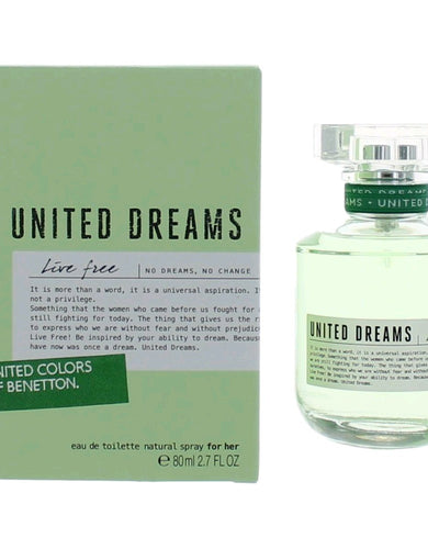 Benetton United Dreams Live Free by Benetton, 2.7 oz Eau De Toilette Spray for Women