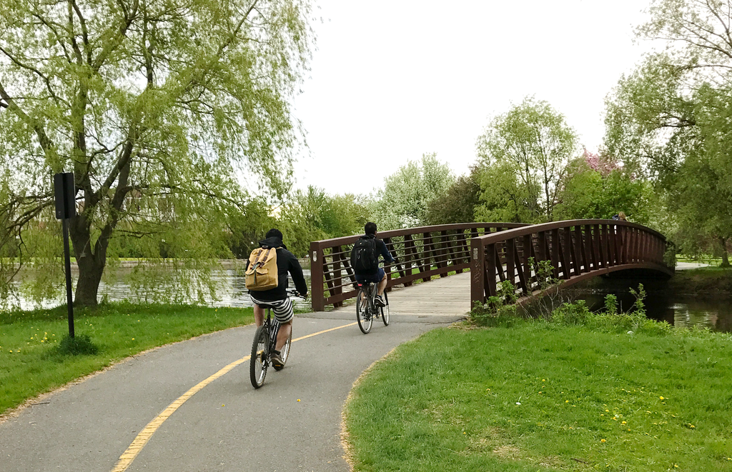 Riding with TruBlue Backpack in Ottawa