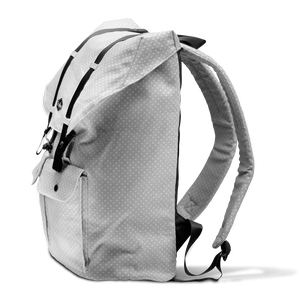grey canvas backpacks