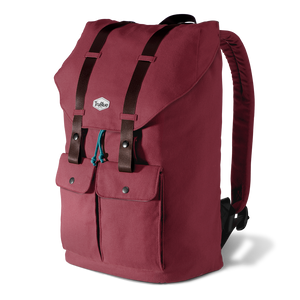 red canvas backpack