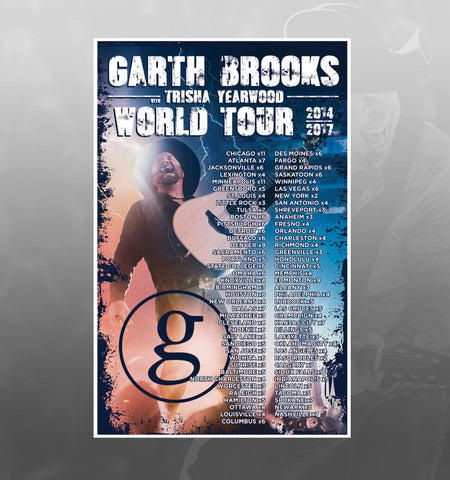 2014 - 2017 Garth Brooks World Tour - ALL SHOWS Event Poster