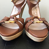 Ferragamo Brown Sandal Pumps Size 6