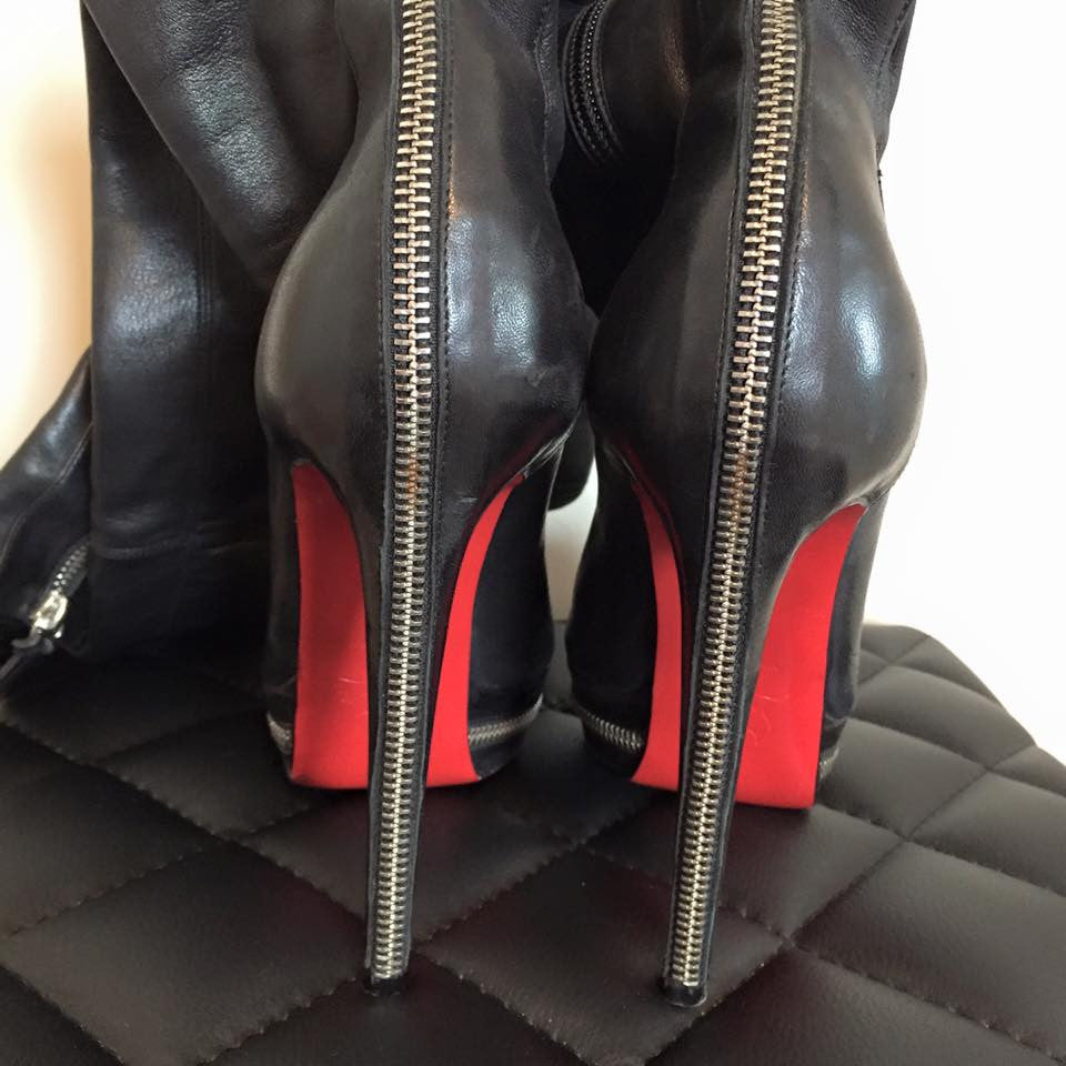 Christian Louboutin Black Zip Back Over The Knee Boot Size