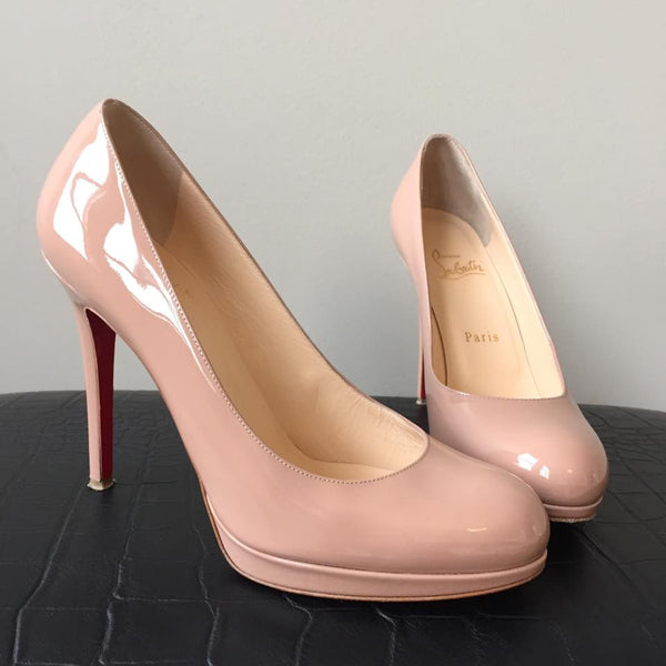 "Christian Louboutin ""New Simple"" Nude Patent Pumps Size 37"