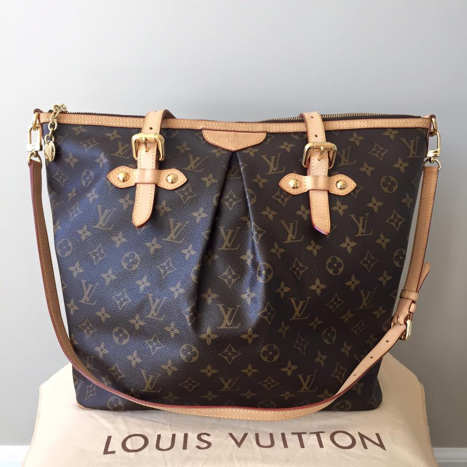 Louis Vuitton Monogram Canvas Palermo GM Tote Bag With Shoulder Strap    Forever Red Soles 1872d79971
