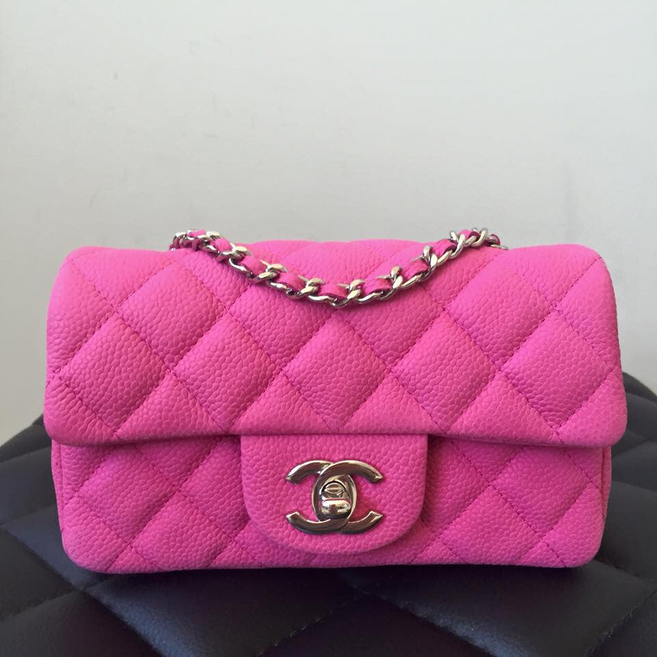 fcd97a2e Chanel Pink Suede Caviar Extra Mini Flap Bag with SHW