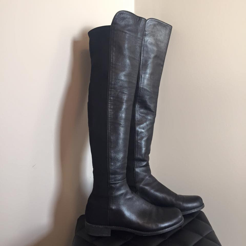 3662384a72f Stuart Weitzman 5050 Over The Knee Black Leather Boots Size 8 ...