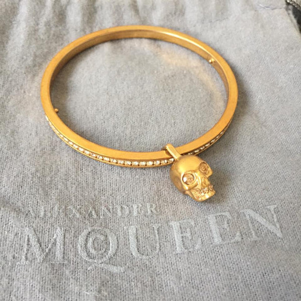 Alexander McQueen Skull Crystal Gold-Plated Bangle
