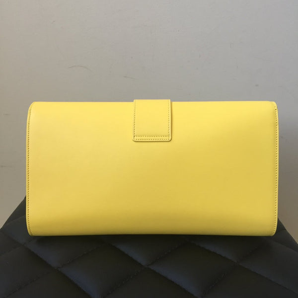 Saint Laurent Classic Y Yellow Leather Clutch