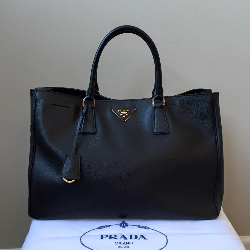 07df96972894 Prada Black Saffiano Lux Large Tote Bag | Forever Red Soles
