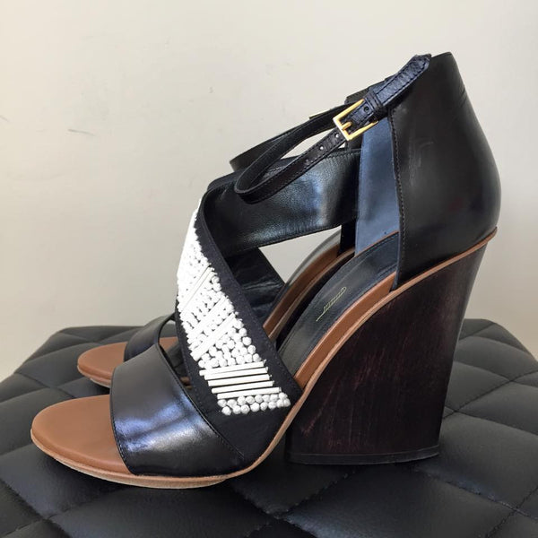 MAIYET Embellished Strappy Wedge Sandals Size 38