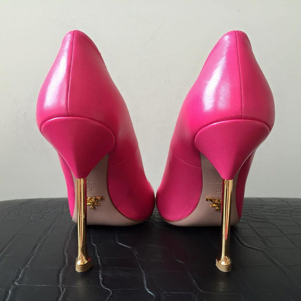 Prada Pink Pumps with Gold Heel Size 38