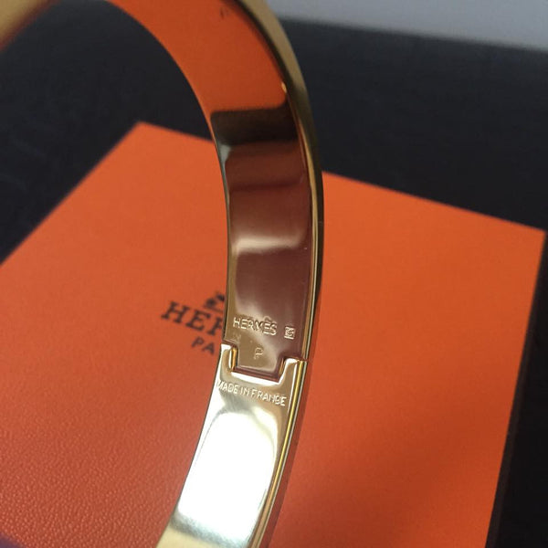 Hermes Pink Enamel Clic H Narrow Bracelet in Gold-Plated Hardware