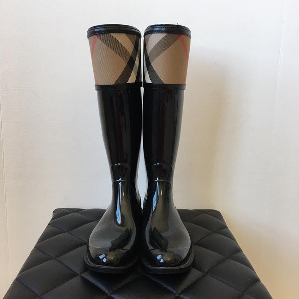 Burberry Black Check Cuff Rubber Rain Boots Size 35