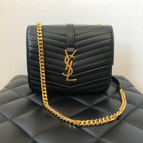 SAINT LAURENT Black Lambskin Matelasse Chevron Sulpice Crossbody Bag