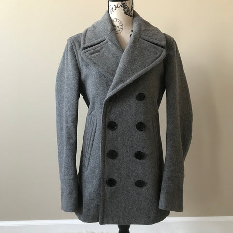 Burberry Brit Men's Grey Eckford Double Breasted Wool Coat Size Small