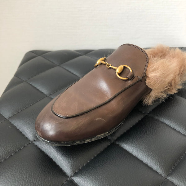 Gucci Brown Fur Princetown Slippers Size 36.5