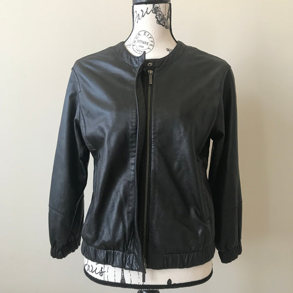 Vince Black Leather Jacket Size Small (fits US 2-4)