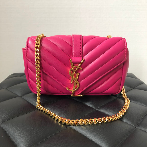 SAINT LAURENT Pink Matelasse Monogram Classic Baby Chain Crossbody Bag