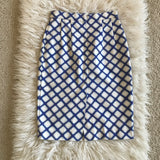 Jonathan Saunders White/Blue Axel High Waisted Pencil Skirt Size 38 (fits 2-4 US)