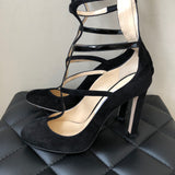 "Jimmy Choo ""Dali"" Suede/Patent Caged Pumps Size 38.5"