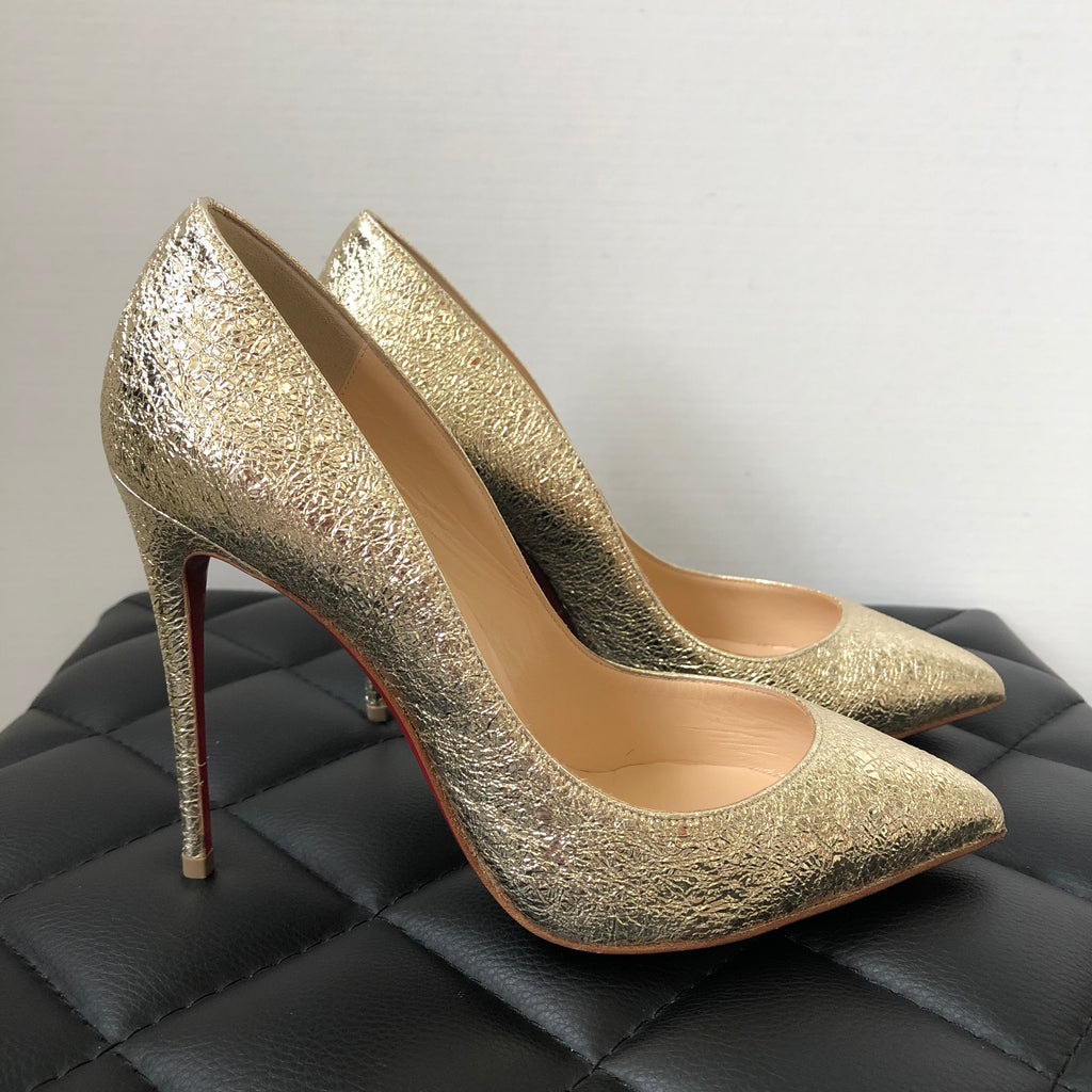buy online 69952 b2a2b Christian Louboutin Pigalle Follies 100 Metallic Gold Crinkled Leather  Pumps Size 36