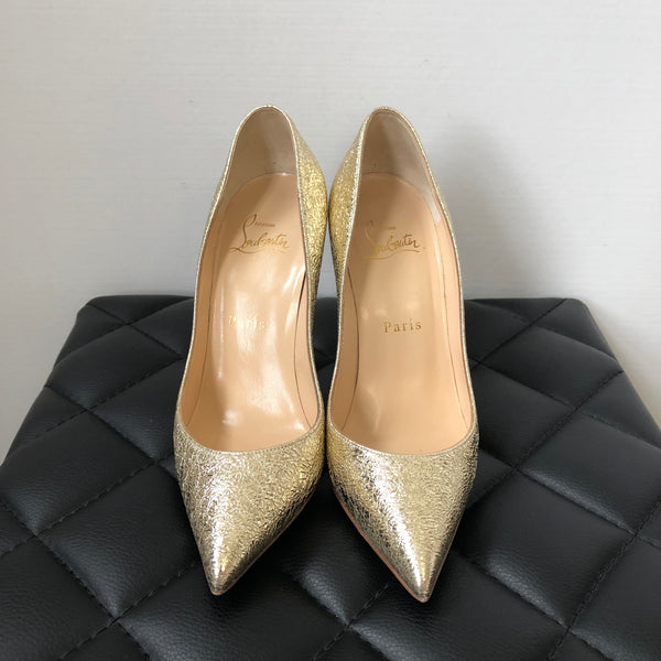 Christian Louboutin Pigalle Follies 100 Metallic Gold Crinkled Leather Pumps Size 36