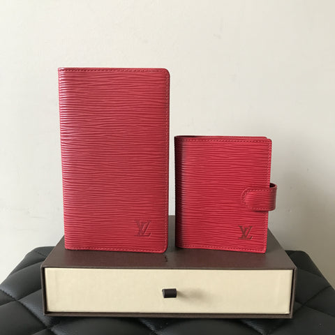 Louis Vuitton Red Epi Wallet and Card Holder Set