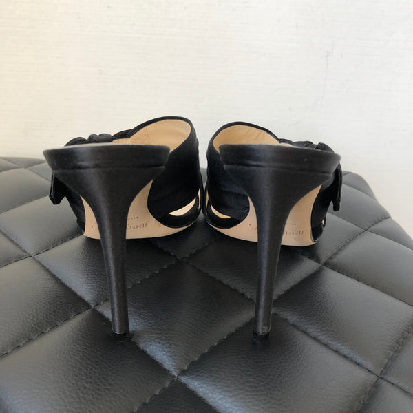 Jimmy Choo Black Satin Bow Sandals Size 36.5