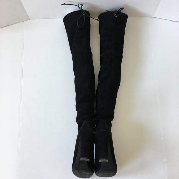 Stuart Weitzman Highland Black Suede Over the Knee Boots Size 8