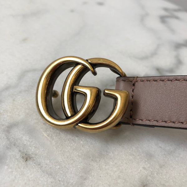 Gucci Dusty Pink Skinny Marmont Belt