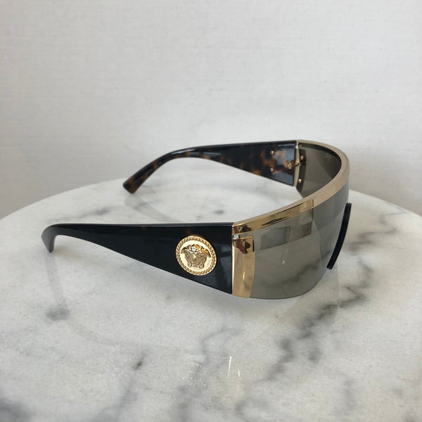 Versace Tribute Unisex Havana Brown/Gold Shield Sunglasses