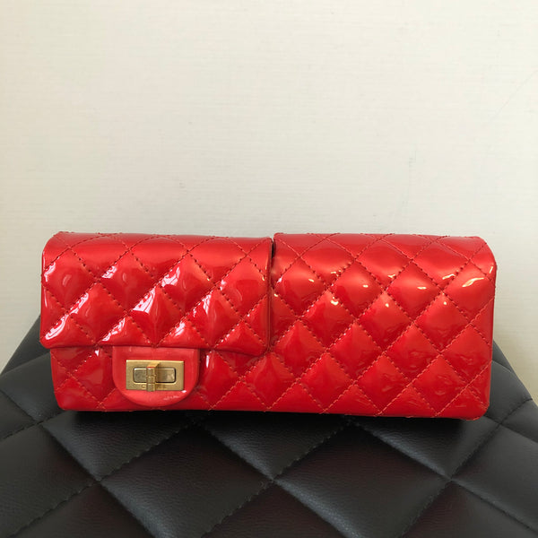 Chanel Red Patent Leather Reissue Double-Sided Flap Shoulder Bag/Clutch