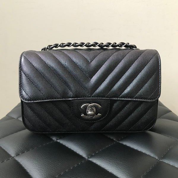4d91c9651500 Chanel Caviar Rectangular Iridescent Black Chevron Mini Flap Bag ...