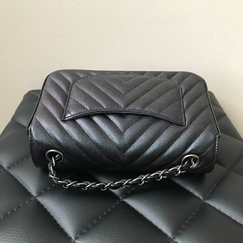 d732a71866e0 ... Chanel Caviar Rectangular Iridescent Black Chevron Mini Flap Bag ...
