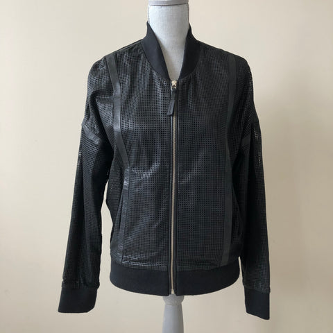 Mackage Kanti Black Perforated Bomber Leather Jacket Size M/L (fits US 8)