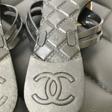 Chanel Black/Ivory Camellia Sandals Size 37