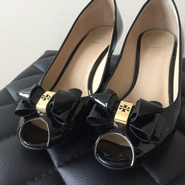 Tory Burch Black Patent Wedges Size 7