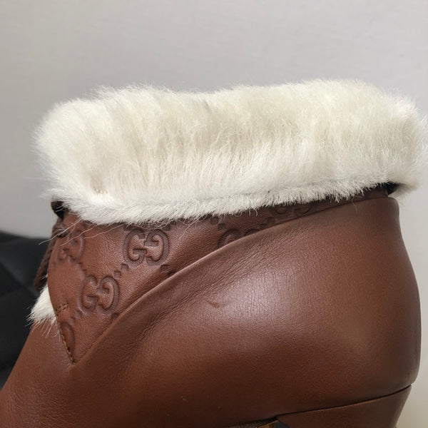 Gucci Brown Monogram Ankle Boots Size 38