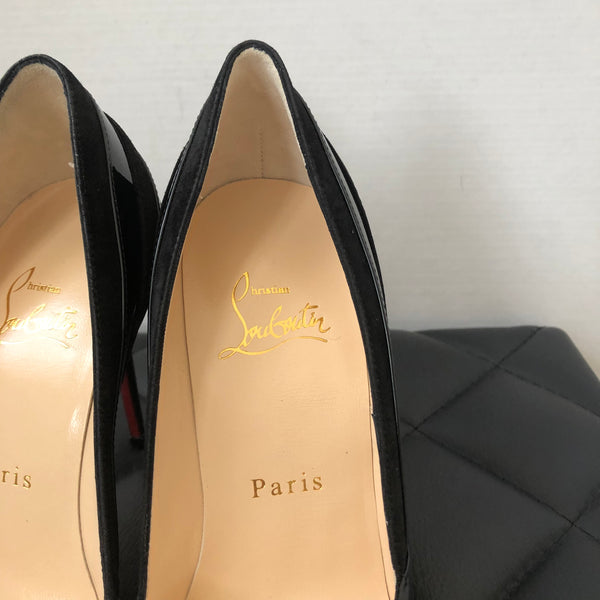 Christian Louboutin Black Super Pump Kid/Patent/Suede Size 36