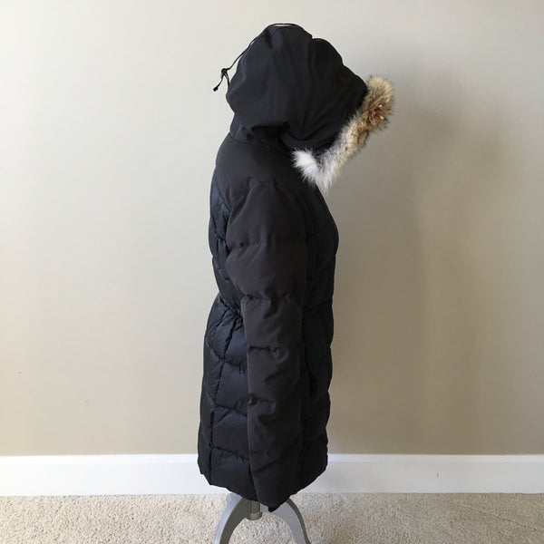 CANADA GOOSE Black Label Beechwood Down Black Parka With Fur Size Large (Fits US 6-8)