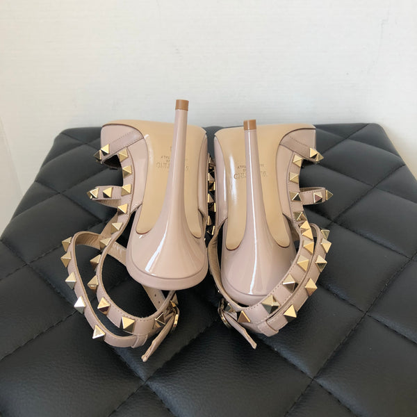 Valentino Poudre (Pink/Nude) Patent Rockstud Pumps Size 38