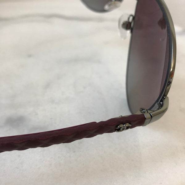 Chanel Gunmetal and Bordeaux Polarized Aviator Sunglasses