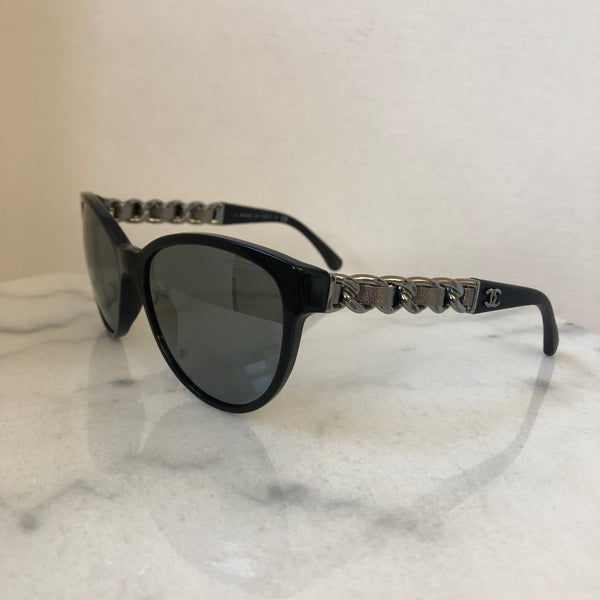 Chanel Black Chain Silver Leather Sunglasses