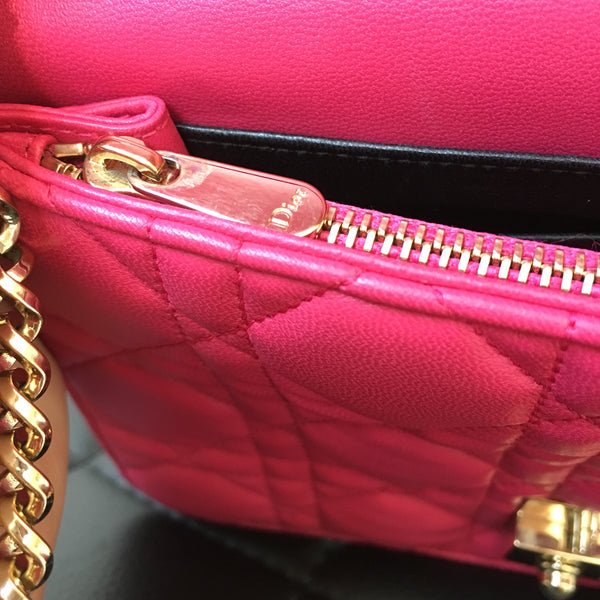Dior Pink Cannage Miss Dior Wallet on Chain/Small Crossbody Bag