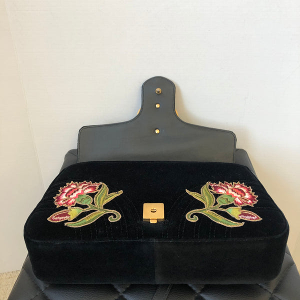 GUCCI Black Velvet Loved Pearl Embroidered Medium Marmont Shoulder/Crossbody Bag
