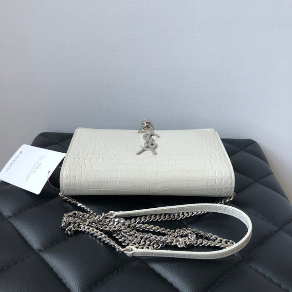 Saint Laurent Kate Chain Wallet (WOC) with Tassel in Shiny Croc-Embossed Leather in Blanc Vintage