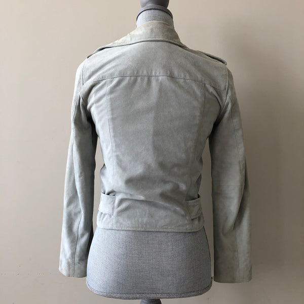 All Saints Luna Blue Suede Balfern Biker Jacket Size US 0