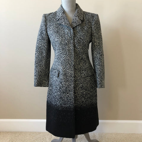 Burberry Herringbone Tweed Black Wool Coat Size US 4