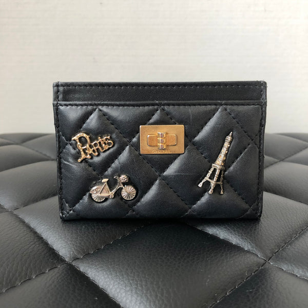 Chanel Black Lucky Charms Aged Calfskin with Antique/Aged Gold tone Hardware Card Holder